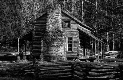 Cades Cove Oliver's Cabin In Black And White Poster