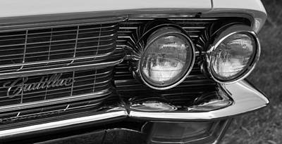 Cadillac Grill And Lights B/w Poster by Mick Flynn