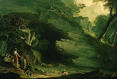 Cadmus And The Dragon  Poster by John Martin