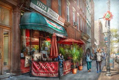 Cafe - Hoboken Nj - Vito's Italian Deli  Poster by Mike Savad