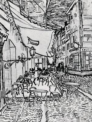 Cafe Terrace At Night - Drawing Poster by Vincent van Gogh