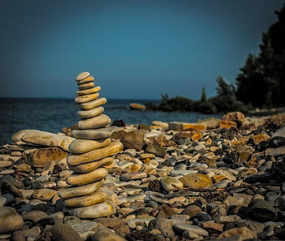 Cairn On Lake Michigan Poster