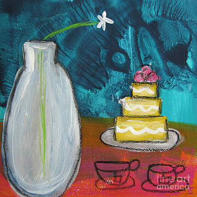 Cake And Tea For Two Poster by Linda Woods