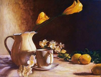 Cala Lily And Lemon Poster