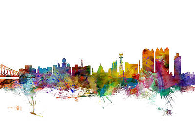 Calcutta Kolkata India Skyline Poster