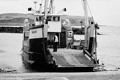 Caledonian Macbrayne Mv Canna Ferry With Vehicle Boarding Ramp Lowered Rathlin Island Pier Harbour N Poster by Joe Fox