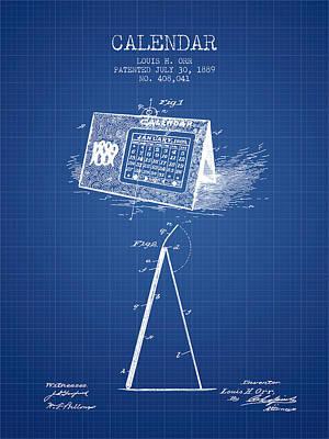 Calendar Patent From 1889 - Blueprint Poster