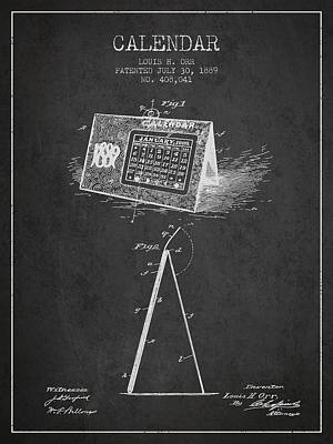 Calendar Patent From 1889 - Charcoal Poster