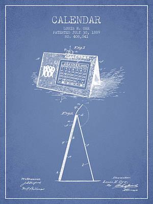 Calendar Patent From 1889 - Light Blue Poster
