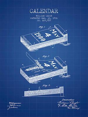 Calendar Patent From 1901 - Blueprint Poster