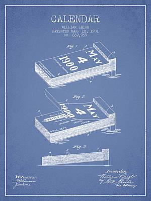 Calendar Patent From 1901 - Light Blue Poster