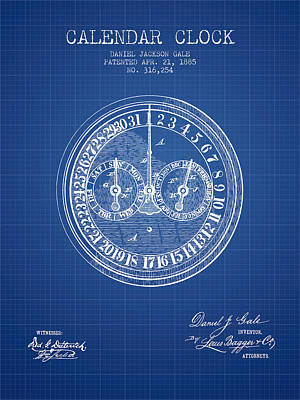 Calender Clock Patent From 1885 - Blueprint Poster