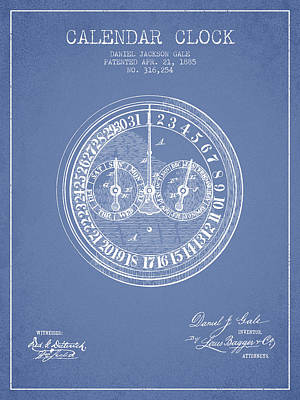 Calender Clock Patent From 1885 - Light Blue Poster