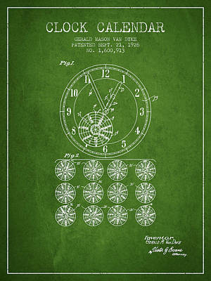 Calender Clock Patent From 1926 - Green Poster