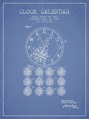 Calender Clock Patent From 1926 - Light Blue Poster