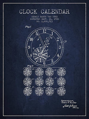 Calender Clock Patent From 1926 - Navy Blue Poster
