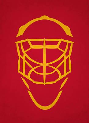 Calgary Flames Goalie Mask Poster by Joe Hamilton