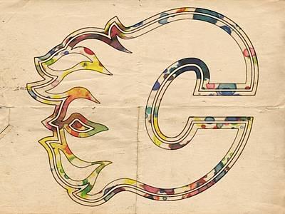 Calgary Flames Poster Art Poster by Florian Rodarte