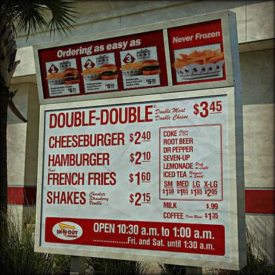 Cali Classic Hamburger Menu Poster
