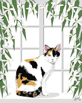Calico Cat And Clematis Poster by Artellus Artworks