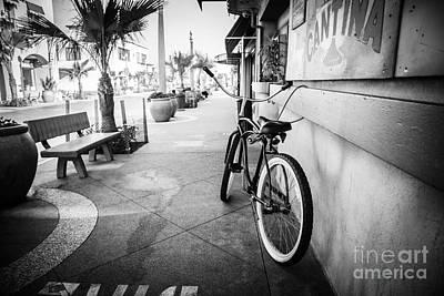 California Beach Cruiser Bike Black And White Photo Poster by Paul Velgos
