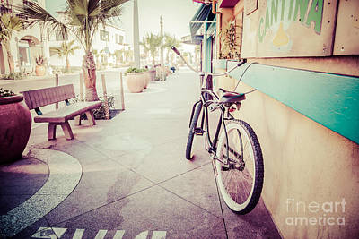 California Beach Cruiser Bike Retro Picture Poster