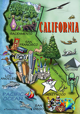 Poster featuring the digital art California Cartoon Map by Kevin Middleton