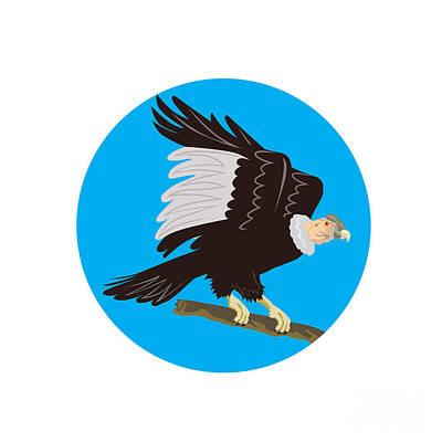 California Condor Perching Branch Circle Retro Poster