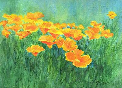 California Golden Poppies Field Bright Colorful Landscape Painting Flowers Floral K. Joann Russell Poster