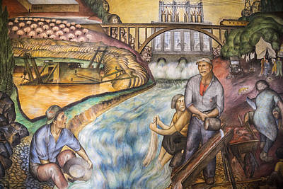 California Industrial Scenes Mural In Coit Tower Poster by Adam Romanowicz