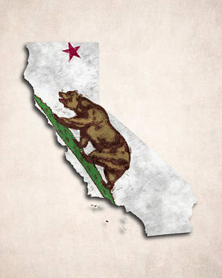 California Map Art With Flag Design Poster by World Art Prints And Designs