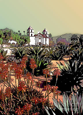 California Mission Poster by Linda  Parker