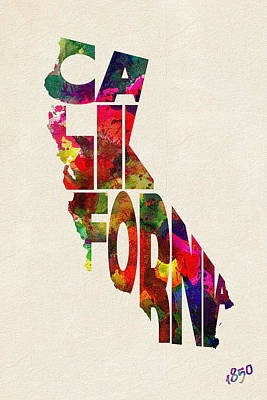 California Typographic Watercolor Map Poster by Ayse Deniz