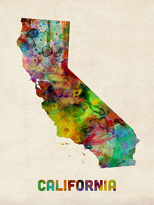 California Watercolor Map Poster by Michael Tompsett