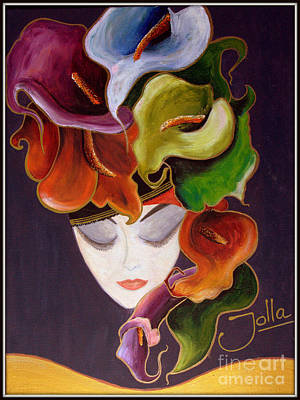 Poster featuring the painting Calla Lily Dame.. by Jolanta Anna Karolska