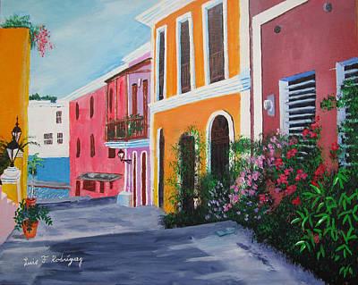 Callejon En El Viejo San Juan Poster by Luis F Rodriguez
