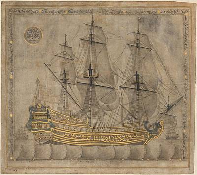 Calligraphic Galleon Poster by Celestial Images