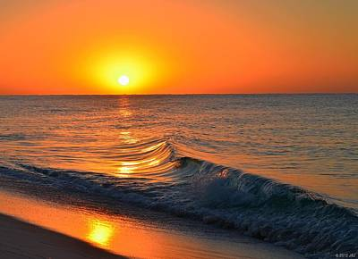 Calm And Clear Sunrise On Navarre Beach With Small Perfect Wave Poster