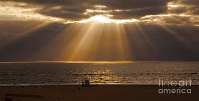 Calm Clouds With Magnificent Sun Rays Over Ocean Poster by Jerry Cowart