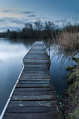 Calm Tranquil Moonlit Landscape Over Lake And Jetty Poster