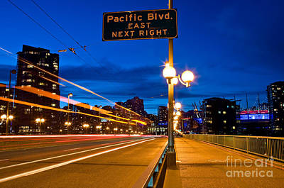Cambie Street Bridge At Night Poster