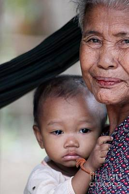 Cambodian Grandmother And Baby #3 Poster by Nola Lee Kelsey