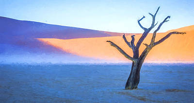 Camel Thorn Dawn - Dead Vlei Digital Art Poster by Duane Miller