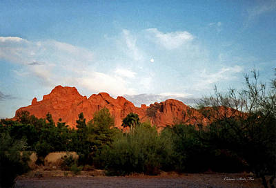 Camelback Mountain And Moon Poster by Connie Fox