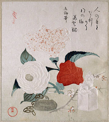Camellia Flowers A Netsuke And A Seal Poster by Kubo Shunman