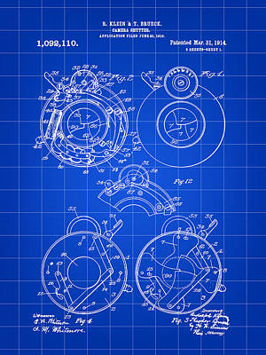 Camera Shutter Patent 1910 - Blue Poster by Stephen Younts
