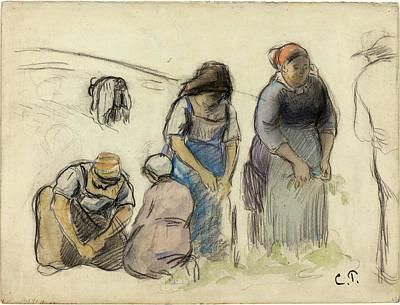 Camille Pissarro, French 1830-1903, Pea Harvesters Recto Poster