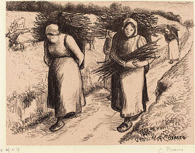 Camille Pissarro French, 1830 - 1903, Peasants Carrying Poster