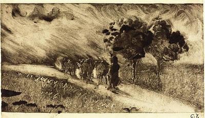 Camille Pissarro, French 1830-1903, Vacherie Le Soir Poster
