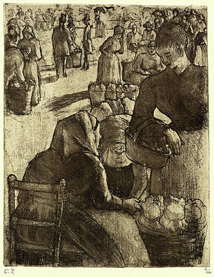 Camille Pissarro, French 1830-1903, Vegetable Market Poster